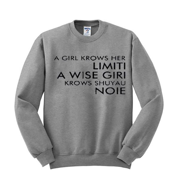 a girl krows her limiti sweatshirt