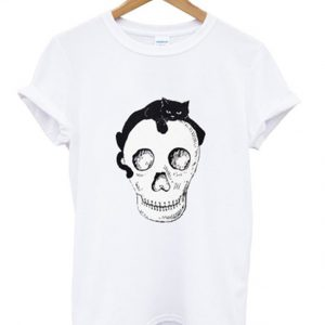 skeleton and cat t-shirt