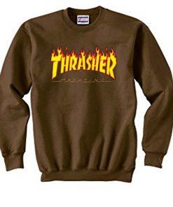 thrasher magazine brown sweatshirt