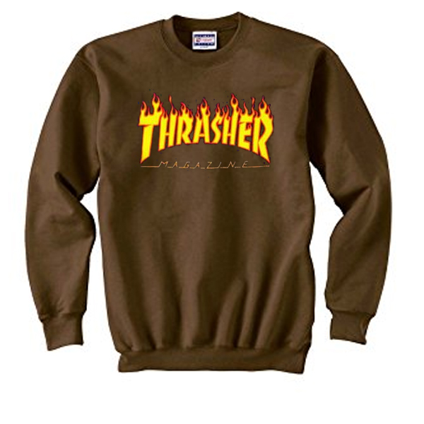 thrasher magazine brown sweatshirt