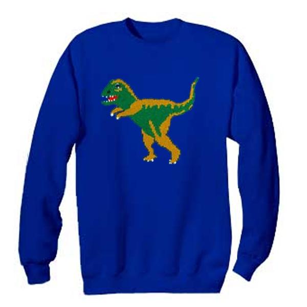 t-rex blue sweatshirt