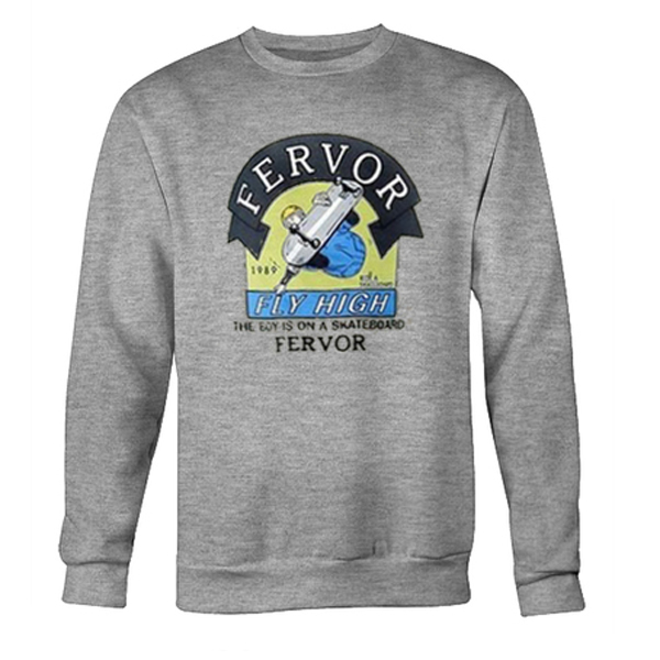 the boy is on a skateboard fervor sweatshirt
