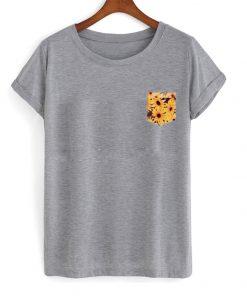 Sun Flower Print Pocket T Shirt