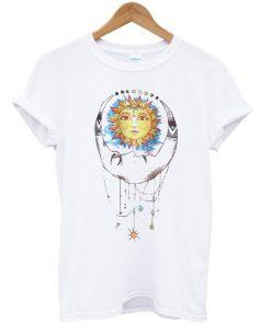 Sun Moon Tribal Print T Shirt