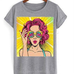 wow pop art face t-shirt