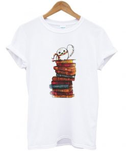 owl and books t-shirt