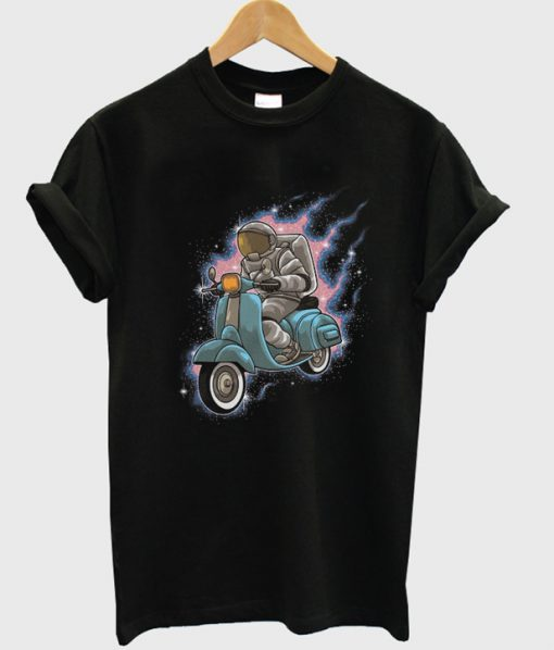astronaut rides a scooter t-shirt