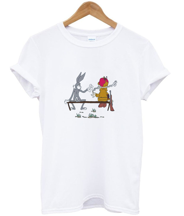 bugs and elmer smoking t-shirt