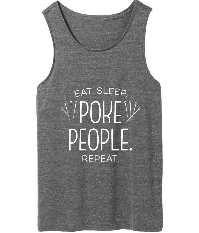 eat sleep poke people repeat tank top